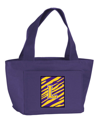 Buy this Letter L Monogram - Tiger Stripe - Purple Gold Lunch Bag or Doggie Bag CJ1022-L-PR-8808