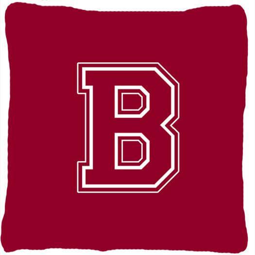 Monogram Initial B Maroon and White Decorative   Canvas Fabric Pillow CJ1032 - the-store.com