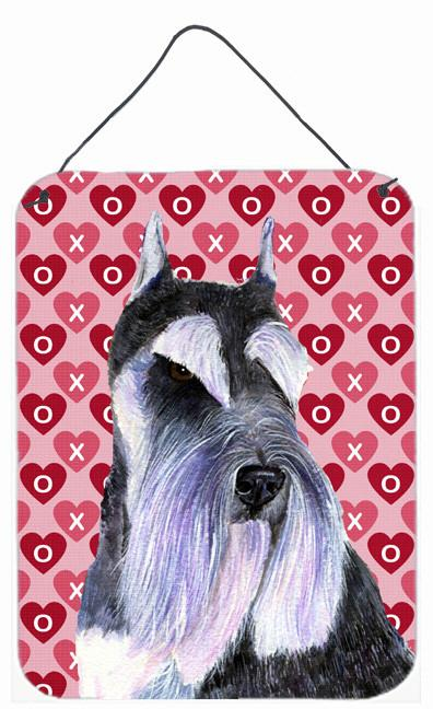 Schnauzer Hearts Love Valentine's Day Wall or Door Hanging Print by Caroline's Treasures