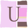 Letter U Initial Monogram - Pink Stripes Decorative   Canvas Fabric Pillow - the-store.com