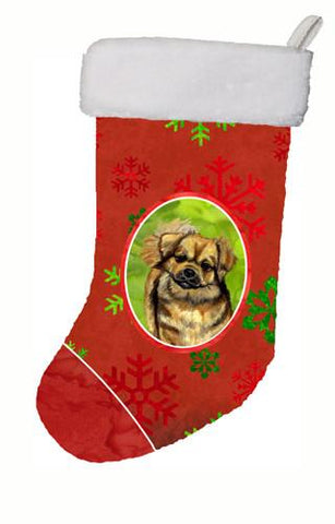 Buy this Tibetan Spaniel Red and Green Snowflakes Holiday Christmas  Stocking
