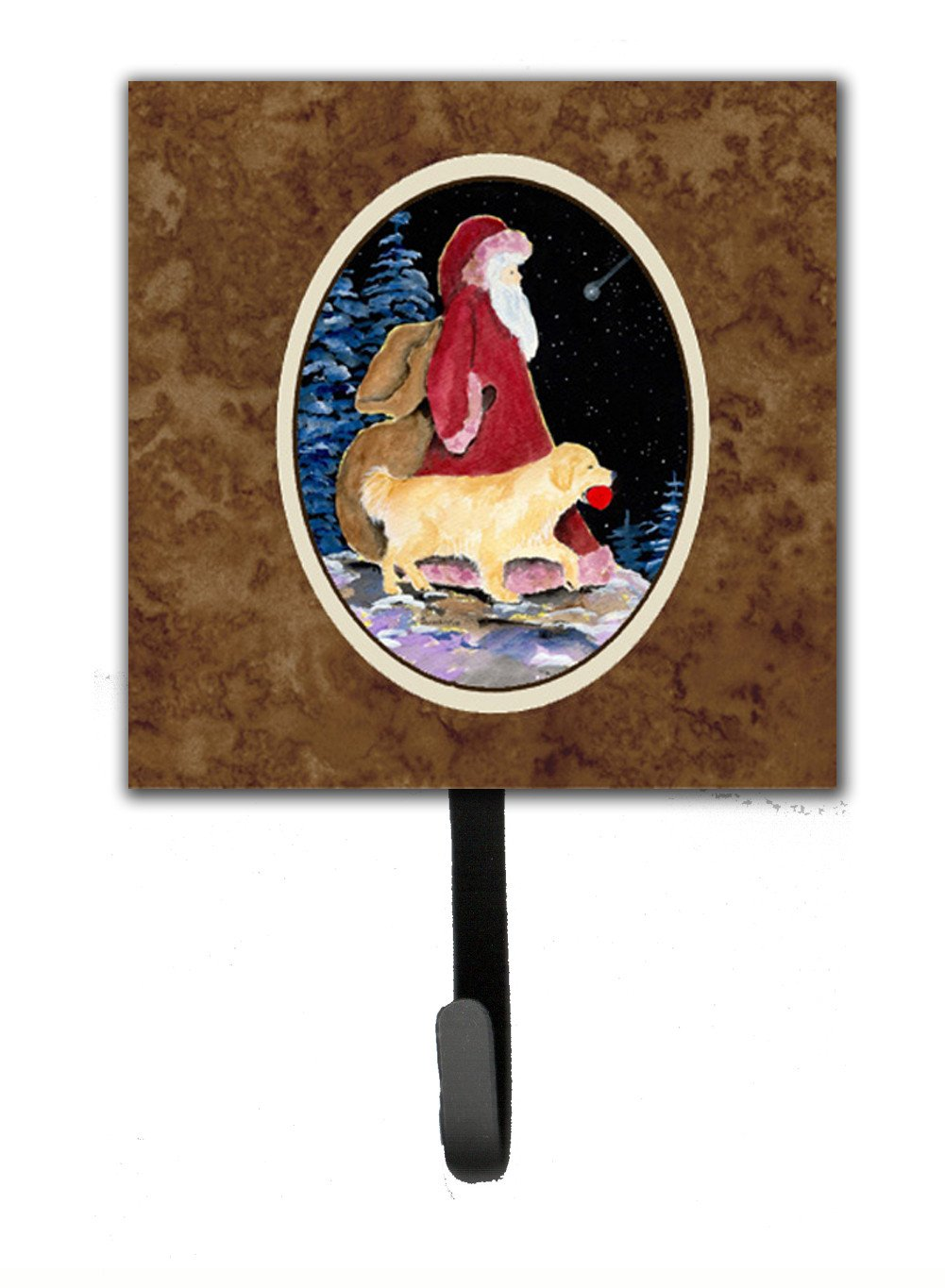 Santa Claus with  Golden Retriever Leash Holder or Key Hook by Caroline's Treasures