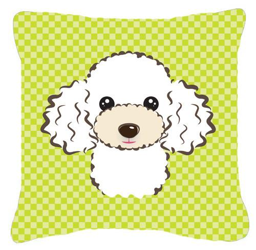 Checkerboard Lime Green White Poodle Canvas Fabric Decorative Pillow BB1319PW1414 - the-store.com