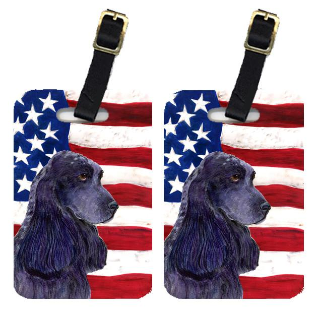 Buy this Pair of USA American Flag with Cocker Spaniel Luggage Tags SS4227BT