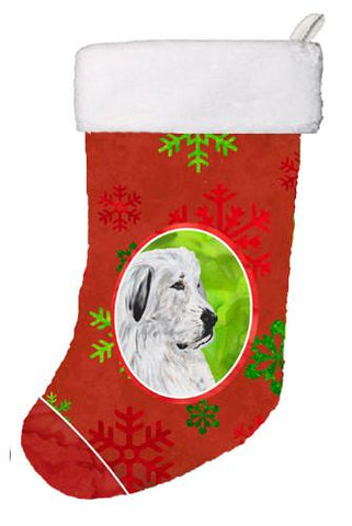 Buy this Great Pyrenees Red Snowflakes Holiday Christmas Stocking SC9762-CS