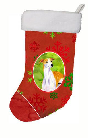 Buy this Whippet Red and Green Snowflakes Holiday Christmas Christmas Stocking LH9328