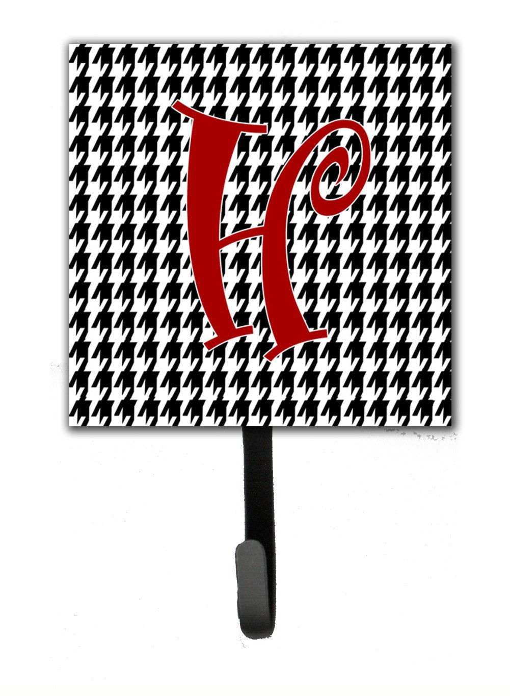 Letter H Initial Monogram - Houndstooth Black Leash Holder or Key Hook by Caroline's Treasures
