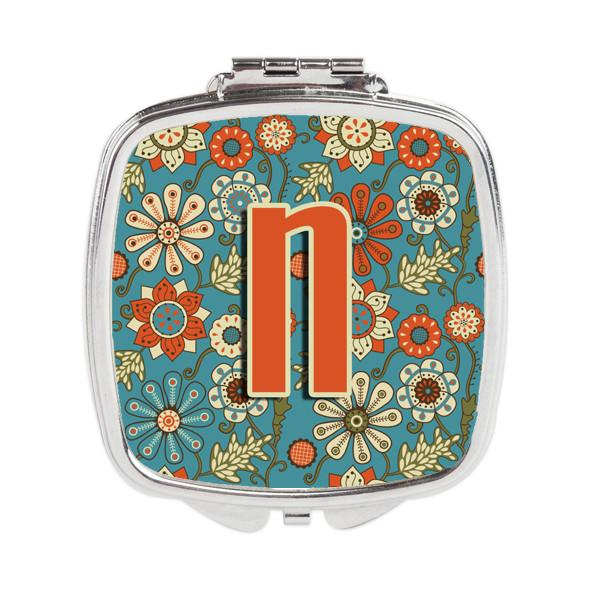 Letter N Flowers Retro Blue Compact Mirror CJ2012-NSCM by Caroline's Treasures