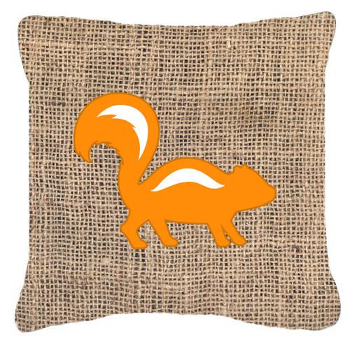 Buy this Skunk Burlap and Orange   Canvas Fabric Decorative Pillow BB1125