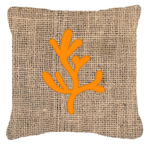 Coral Burlap and Orange   Canvas Fabric Decorative Pillow BB1103 by Caroline's Treasures