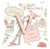 Buy this Letter V Love in Paris Pink Canvas Fabric Decorative Pillow CJ2002-VPW1414