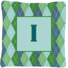 Monogram - Initial I Blue Argoyle Decorative   Canvas Fabric Pillow CJ1020 - the-store.com