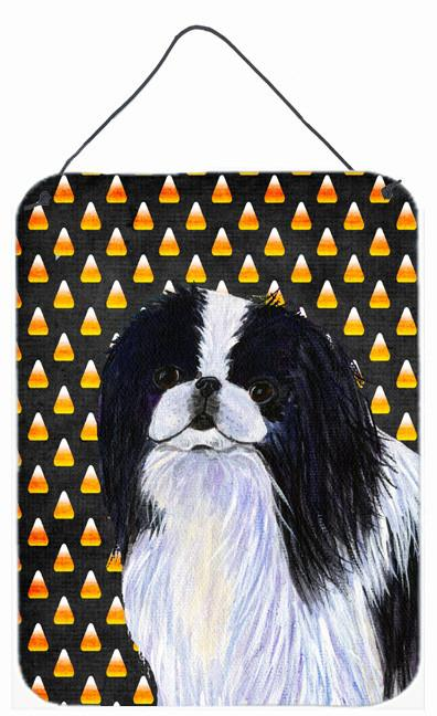 Japanese Chin Candy Corn Halloween Portrait Wall or Door Hanging Prints by Caroline's Treasures