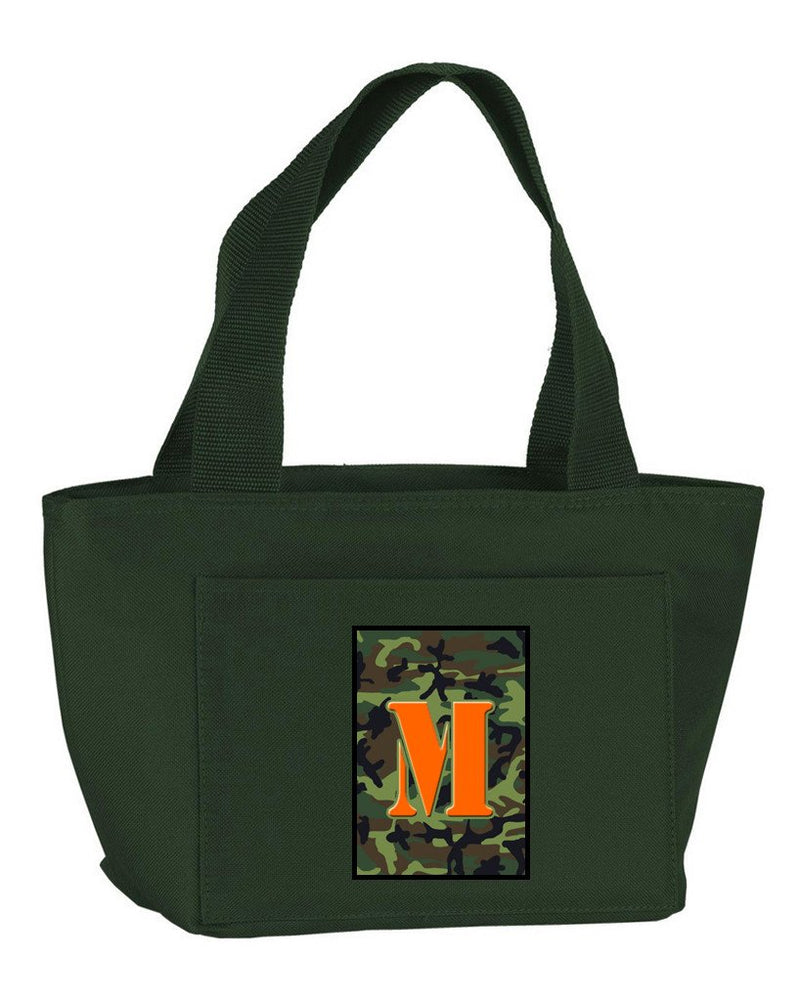 Buy this Letter M Monogram - Camo Green Zippered Insulated School Washable and Stylish Lunch Bag Cooler CJ1030-M-GN-8808