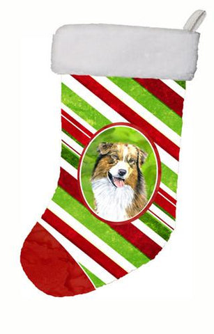 Buy this Australian Shepherd Candy Cane Holiday Christmas  Christmas Stocking SC9357
