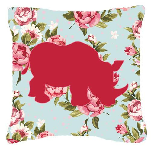 Buy this Rhinoceros Shabby Chic Blue Roses   Canvas Fabric Decorative Pillow BB1006