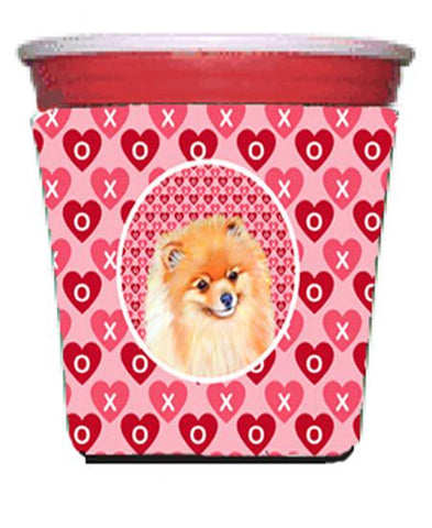Buy this Pomeranian Valentine's Love and Hearts Red Solo Cup Beverage Insulator Hugger