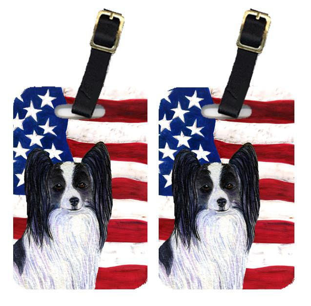 Buy this Pair of USA American Flag with Papillon Luggage Tags SS4032BT