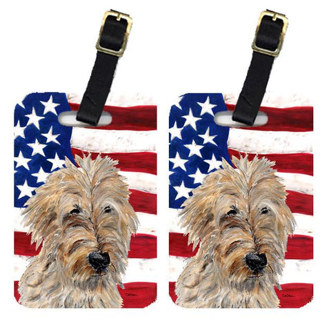 Buy this Pair of Golden Doodle 2 with American Flag USA Luggage Tags SC9643BT