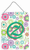 Letter Z Flowers Pink Teal Green Initial Wall or Door Hanging Prints CJ2011-ZDS1216 by Caroline's Treasures