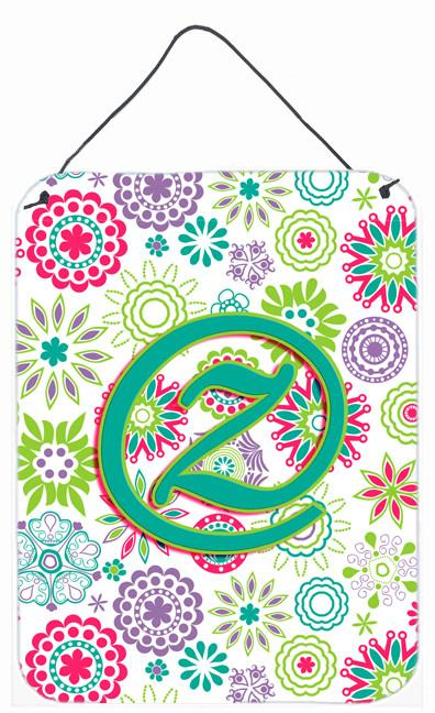 Buy this Letter Z Flowers Pink Teal Green Initial Wall or Door Hanging Prints CJ2011-ZDS1216