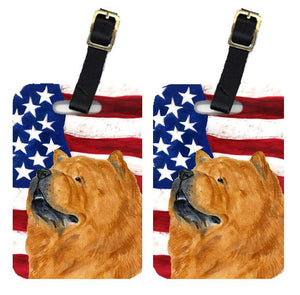Buy this Pair of USA American Flag with Chow Chow Luggage Tags SS4029BT
