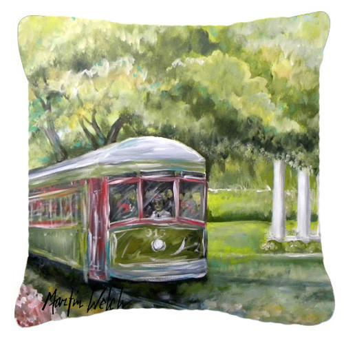 Streetcar Next Stop Audubon Park Canvas Fabric Decorative Pillow MW1091PW1414 by Caroline's Treasures