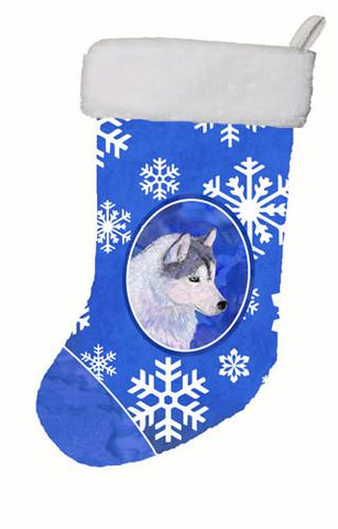 Buy this Siberian Husky Winter Snowflakes Christmas Stocking SS4602