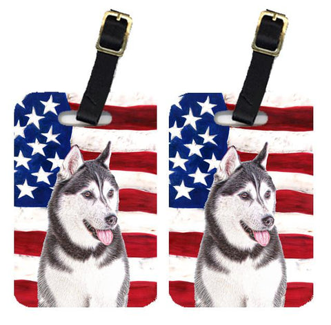 Buy this Pair of USA American Flag with Alaskan Malamute Luggage Tags KJ1154BT