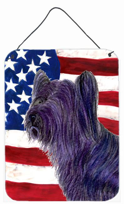 Buy this USA American Flag with Skye Terrier Aluminium Metal Wall or Door Hanging Prints