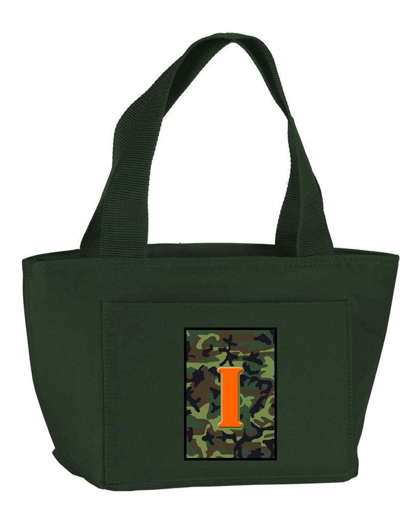 Buy this Letter I Monogram - Camo Green Zippered Insulated School Washable and Stylish Lunch Bag Cooler CJ1030-I-GN-8808