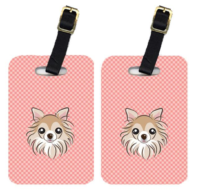 Pair of Checkerboard Pink Chihuahua Luggage Tags BB1251BT by Caroline's Treasures