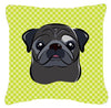Checkerboard Lime Green Black Pug Canvas Fabric Decorative Pillow BB1325PW1414 - the-store.com