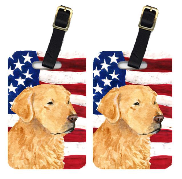 Buy this Pair of USA American Flag with Golden Retriever Luggage Tags SS4055BT