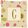 Letter C Initial Monogram - Tan Dots Decorative   Canvas Fabric Pillow - the-store.com