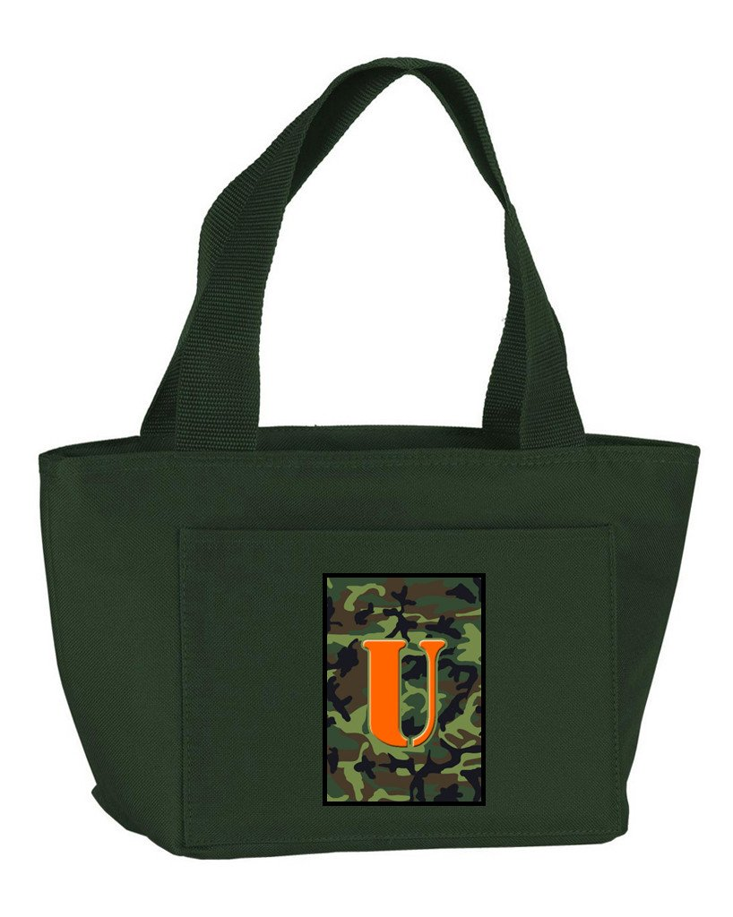 Buy this Letter U Monogram - Camo Green Zippered Insulated School Washable and Stylish Lunch Bag Cooler CJ1030-U-GN-8808