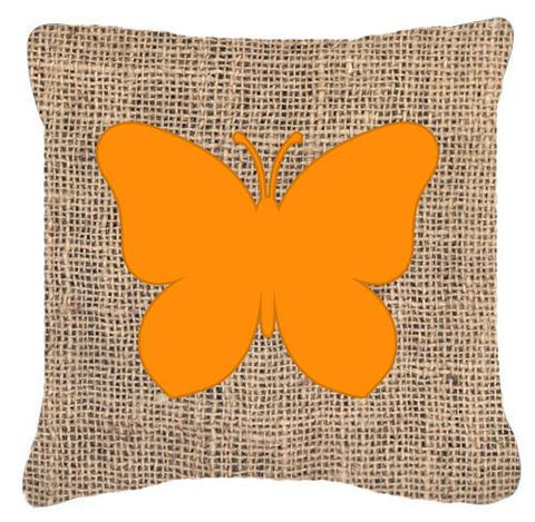 Buy this Butterfly Burlap and Orange   Canvas Fabric Decorative Pillow BB1047