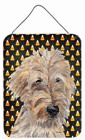 Buy this Goldendoodle Halloween Candy Corn Aluminium Metal Wall or Door Hanging Prints
