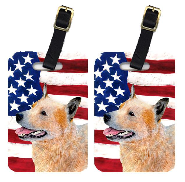 Buy this Pair of USA American Flag with Australian Cattle Dog Luggage Tags SS4251BT