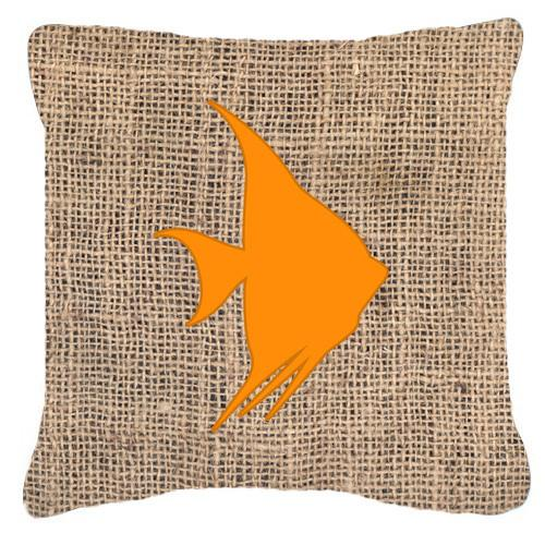 Buy this Fish - Angel Fish Burlap and Orange   Canvas Fabric Decorative Pillow BB1022