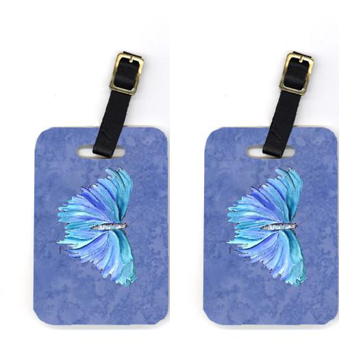 Pair of Butterfly on Slate Blue Luggage Tags by Caroline's Treasures