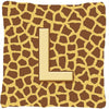 Monogram Initial L Giraffe Decorative   Canvas Fabric Pillow CJ1025 by Caroline's Treasures