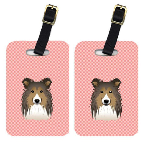 Buy this Pair of Checkerboard Pink Sheltie Luggage Tags BB1242BT