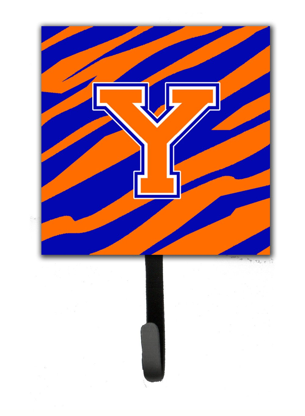 Letter Y Initial Monogram - Tiger Stripe - Blue Orange Leash Holder or Key Hook by Caroline's Treasures