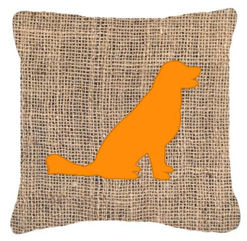 Labrador Burlap and Orange   Canvas Fabric Decorative Pillow BB1076 by Caroline's Treasures