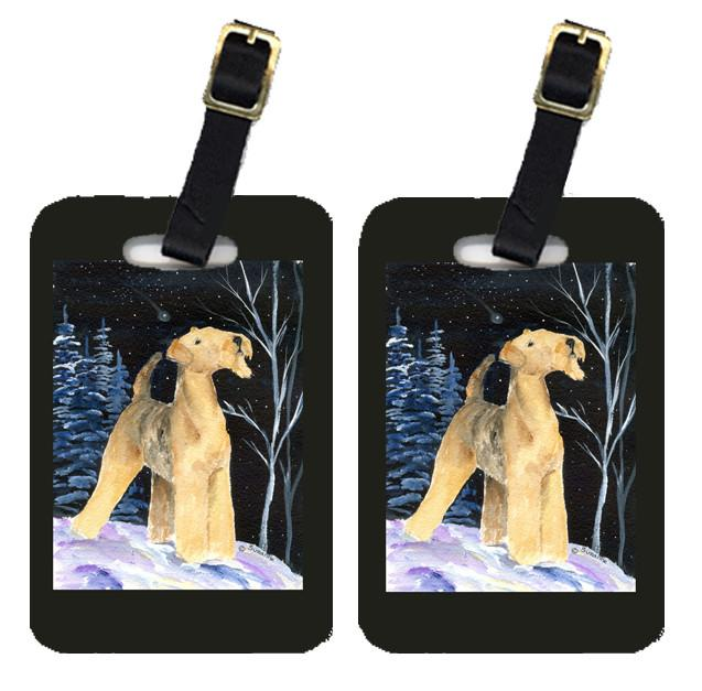 Starry Night Airedale Luggage Tags Pair of 2 by Caroline's Treasures