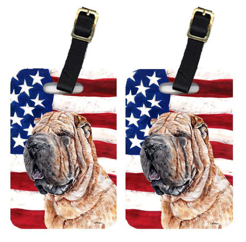 Buy this Pair of Shar Pei with American Flag USA Luggage Tags SC9623BT