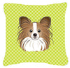 Checkerboard Lime Green Papillon Canvas Fabric Decorative Pillow BB1310PW1414 - the-store.com