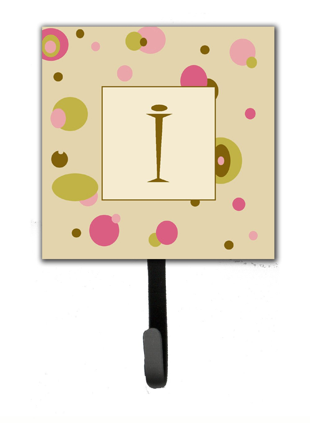 Letter I Initial Monogram - Tan Dots Leash Holder or Key Hook by Caroline's Treasures