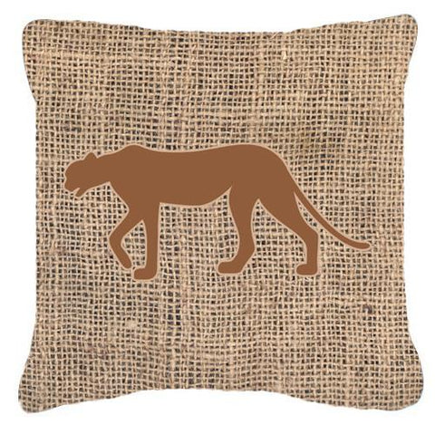 Buy this Leopard Burlap and Brown   Canvas Fabric Decorative Pillow BB1004